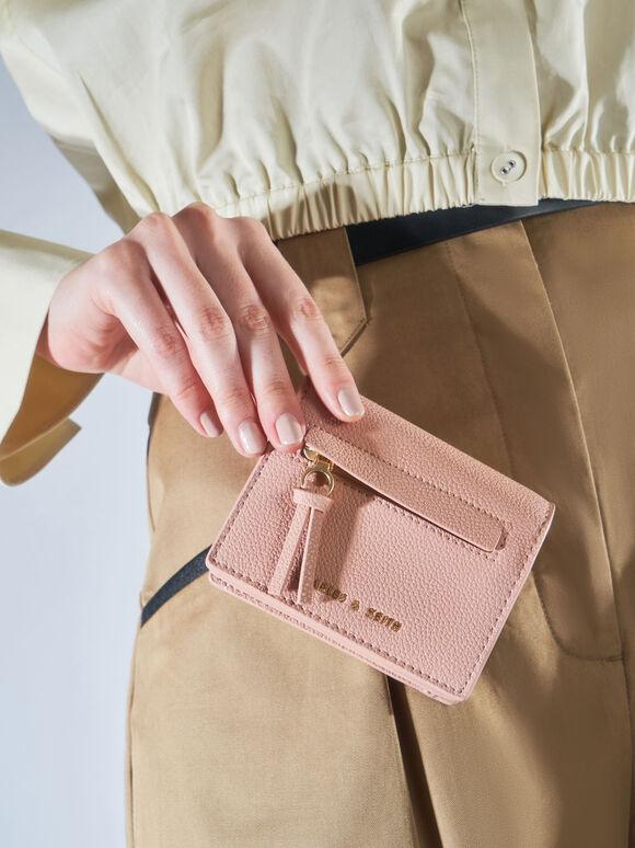 Snap Button Card Holder, Blush, hi-res