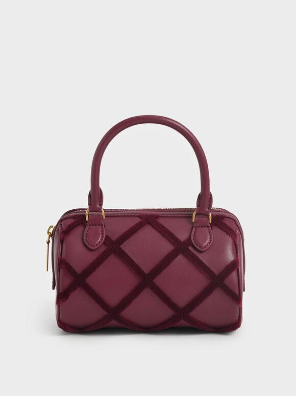 Tas Top Handle Bag Criss-Cross Pattern, Burgundy, hi-res