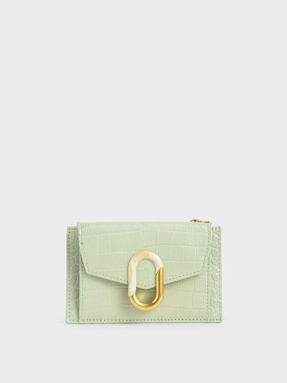 Croc-Effect Stone-Embellished Card Holder, Mint Green, hi-res