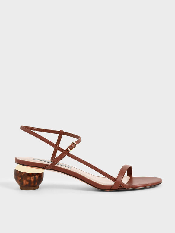 Sandal Sculptural Heel Ankle Strap, Brown, hi-res