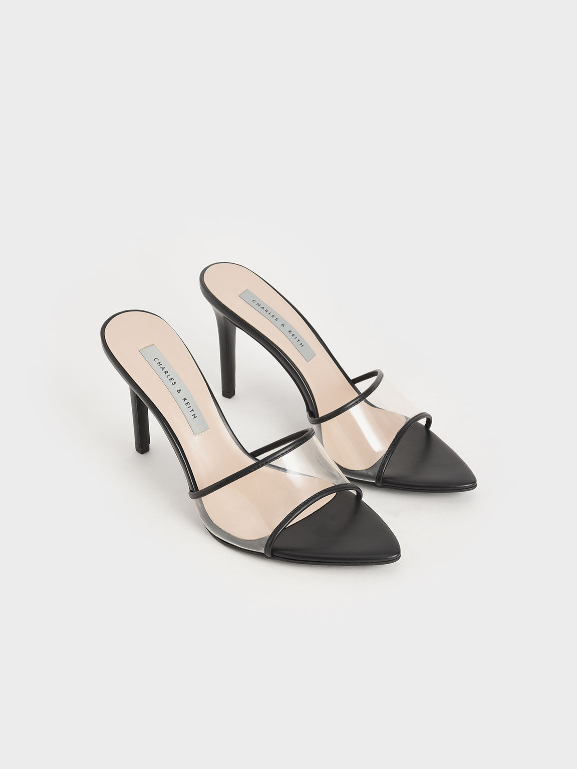 Sandal Mules Clear Strap, Black, hi-res