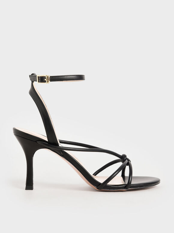 Sandal Front Knot Heeled, Black, hi-res