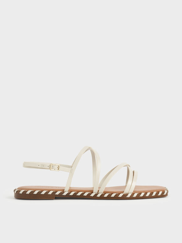 Sandal Strappy Trim Whipstitch, Chalk, hi-res