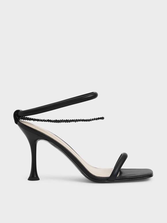 Beaded Strap Heeled Sandals, Black, hi-res