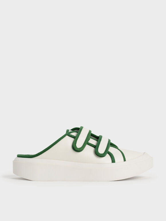 Sepatu Sneaker Mules Two-Tone Velcro, Green, hi-res