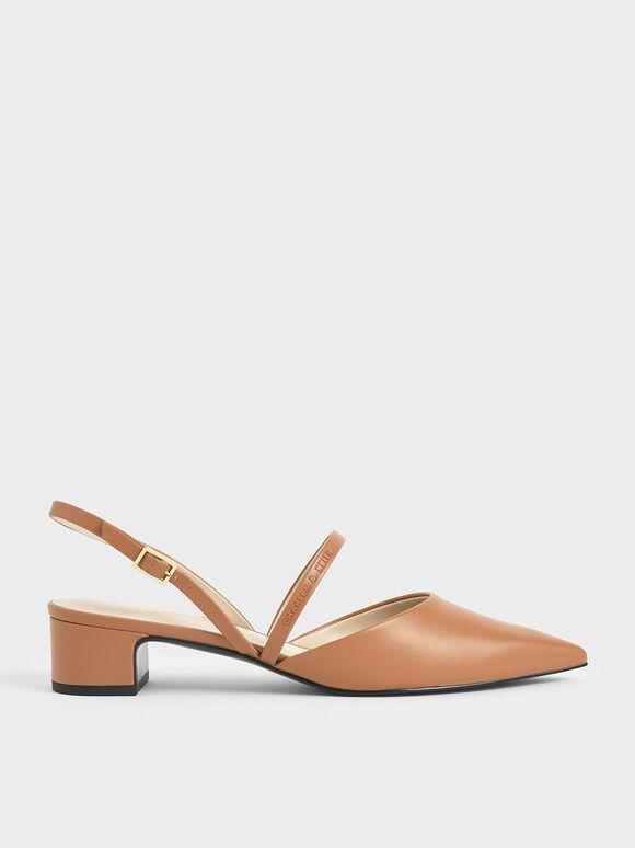 Sepatu Slingback Heeled Mary Janes, Brown, hi-res