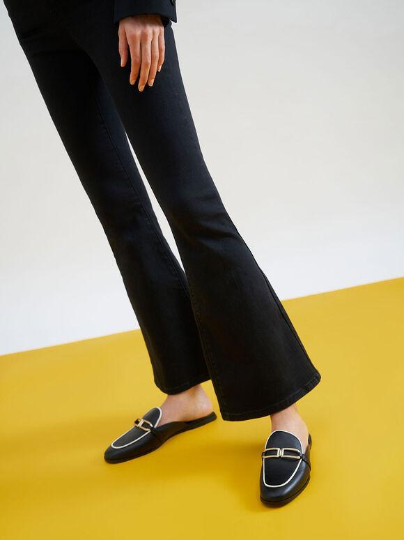 Sepatu Metallic Accent Mule Flats, Black, hi-res