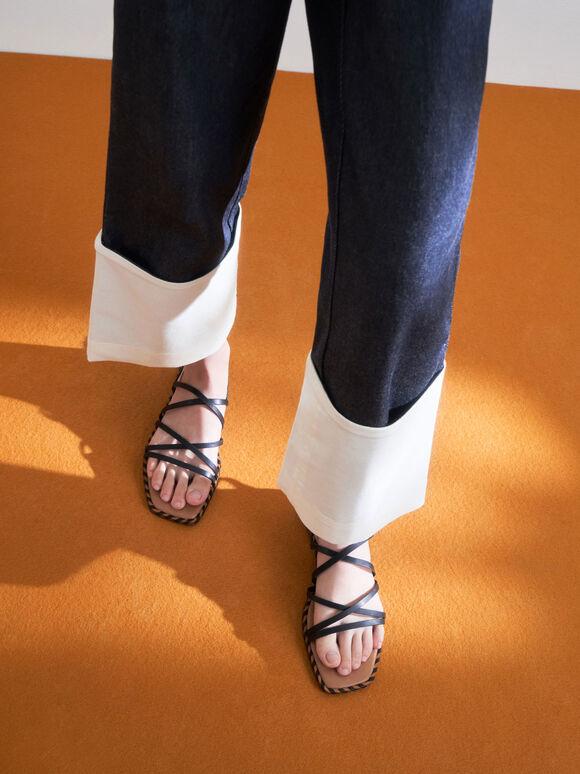 Sandal Strappy Trim Whipstitch, Black, hi-res