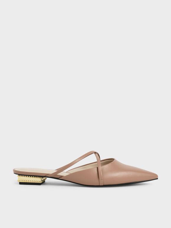 Sepatu Pointed Toe Cross Strap Mules, Camel, hi-res
