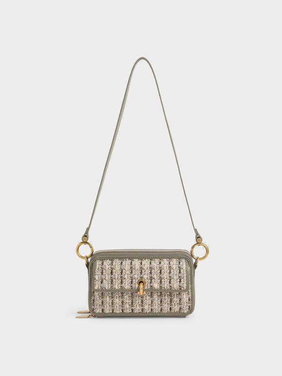 Tweed Boxy Crossbody Bag, Taupe, hi-res