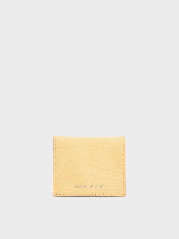 Dompet Kecil Croc-Effect, Yellow, hi-res