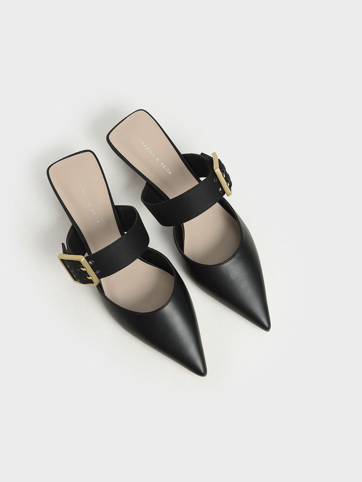 Sepatu Satin Grommet Buckle Mules, Black, hi-res