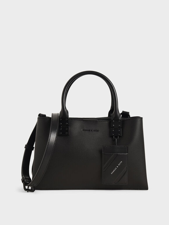 Tas Double Top Handle Structured, Ultra-Matte Black, hi-res