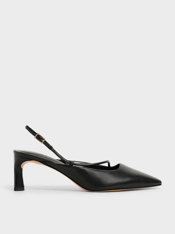 Sepatu Asymmetric Slingback Pumps, Black, hi-res