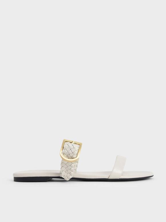 Sandal Woven Strap Slide, Chalk, hi-res