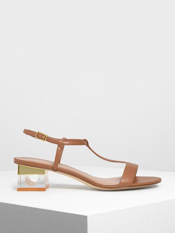 Sepatu Heel Sandals T-Bar Lucite, Cognac, hi-res