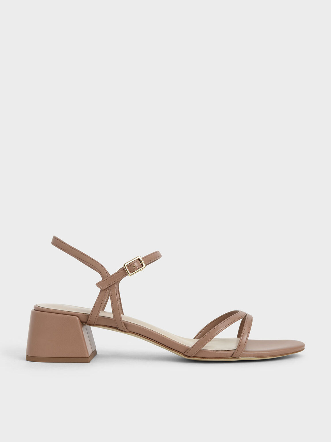 Sandal Strappy Block Heel, Tan, hi-res