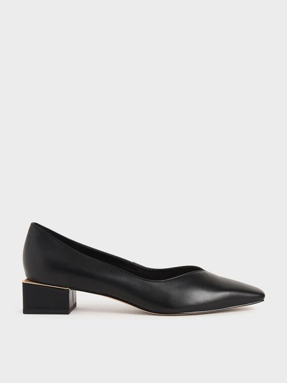 Sepatu Block Heel Pumps, Black, hi-res
