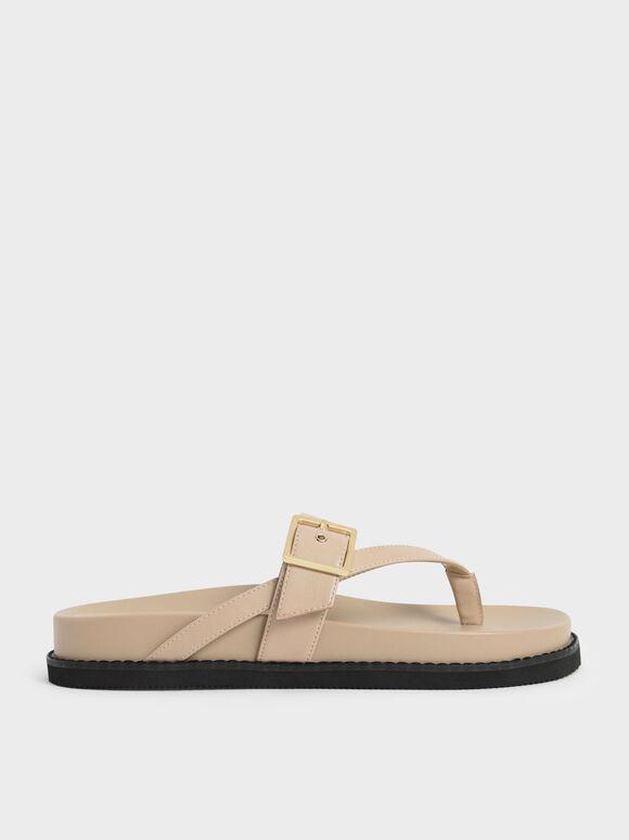 Sandal Buckled Thong, Beige, hi-res