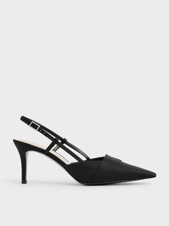 Sepatu Satin Slingback Pumps, Black, hi-res