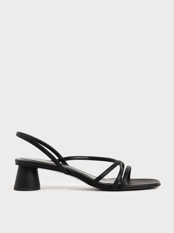 Sandal Strappy Cylindrical Heel, Black, hi-res
