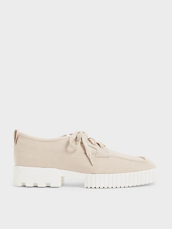 Sepatu Sneakers Recycled Polyester Low-Top, Beige, hi-res