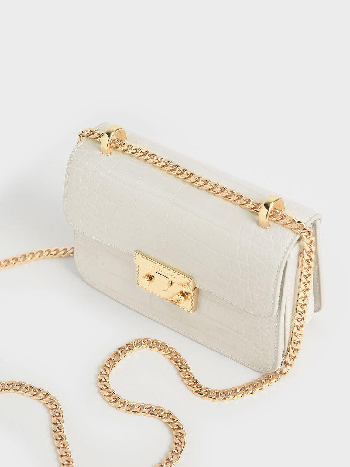 Croc-Effect Chain Strap Crossbody Bag, Chalk, hi-res