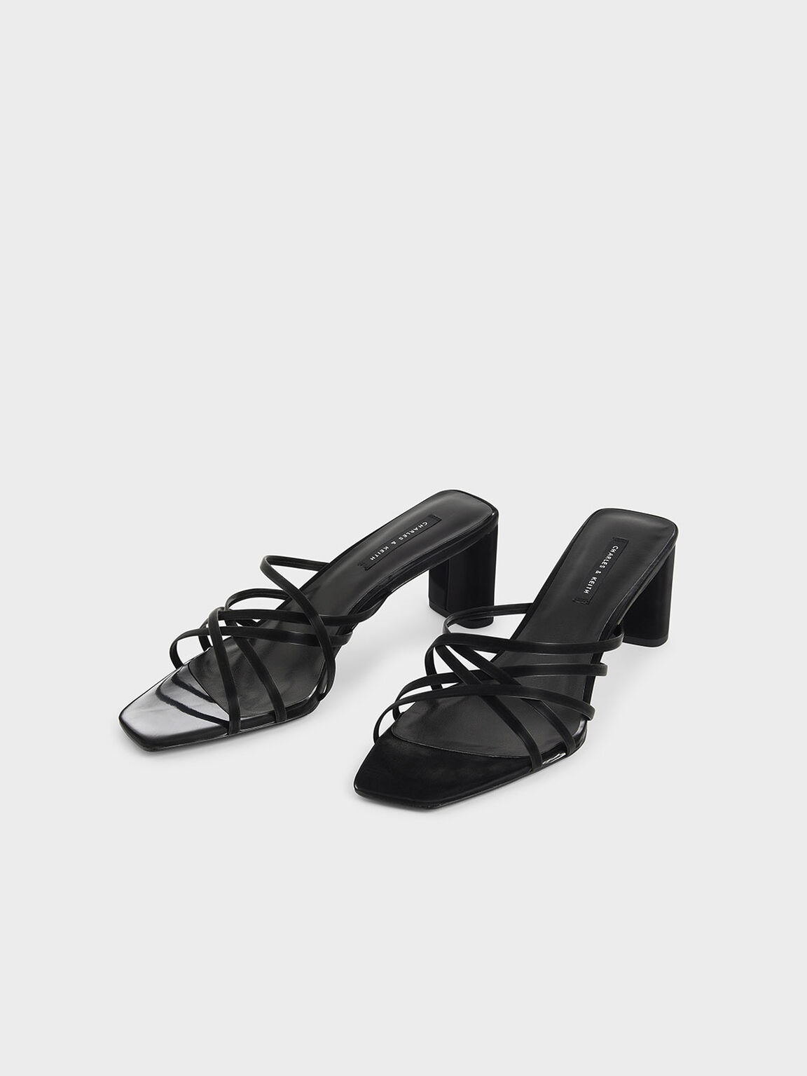 Sandal Strappy Blade Heel Mules, Black, hi-res