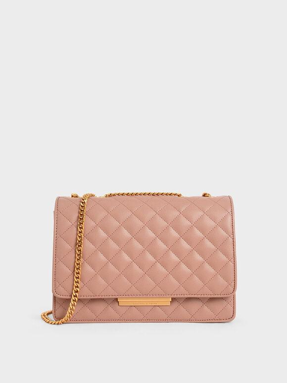 Quilted Shoulder Bag, Pink, hi-res