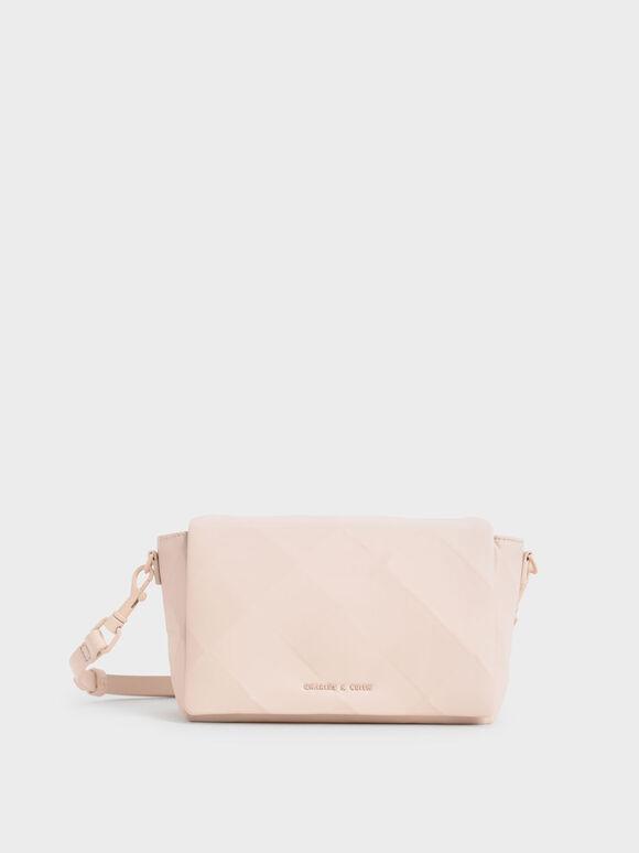 Geometric Crossbody Bag, Light Pink, hi-res