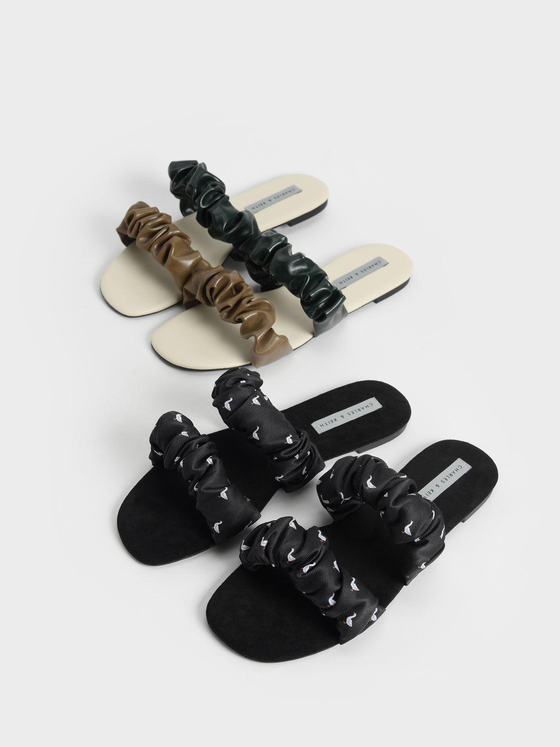 Sandal Ruched Strap Slide, Olive, hi-res