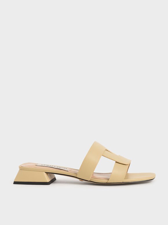Mules Leather Cut Out, Beige, hi-res
