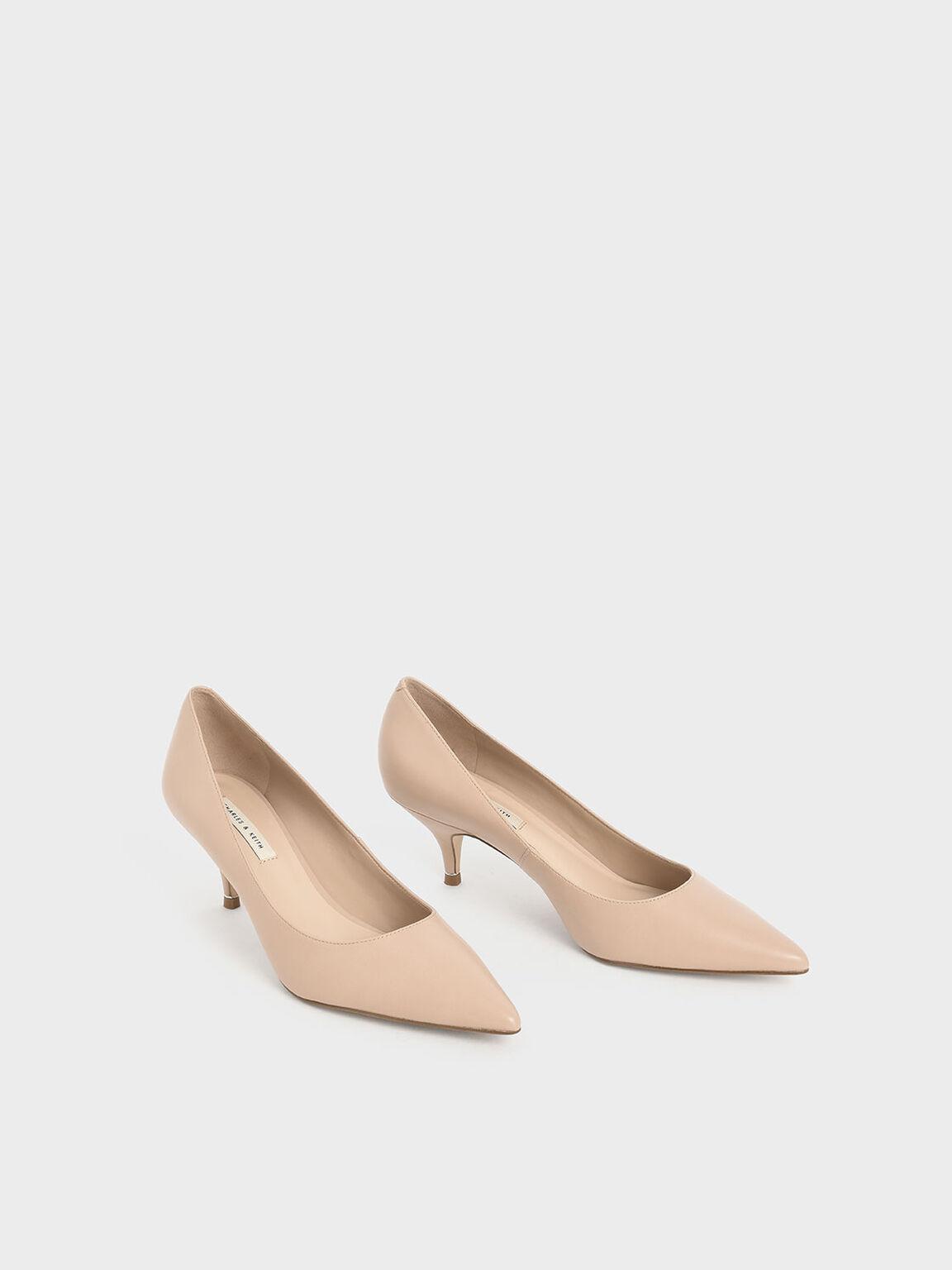 Sepatu Classic Pointed Toe Pumps, Nude, hi-res