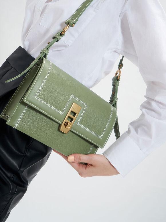 Turn-Lock Chain Handle Bag, Sage Green, hi-res
