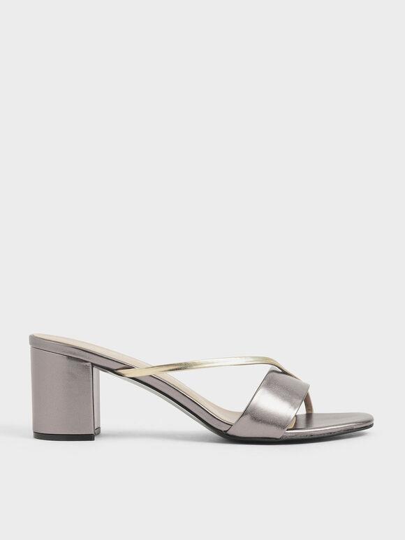 Sandal Tali Asimetris Metalik, Pewter, hi-res