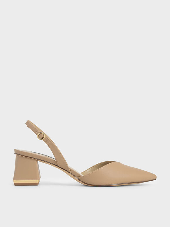 Sepatu Trapeze Heel Slingback Pumps, Sand, hi-res