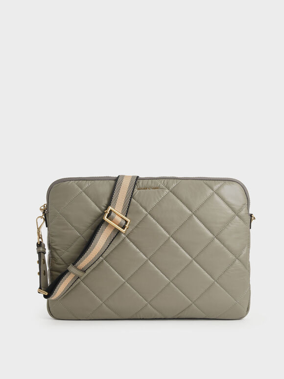 Tas Laptop Quilted, Taupe, hi-res