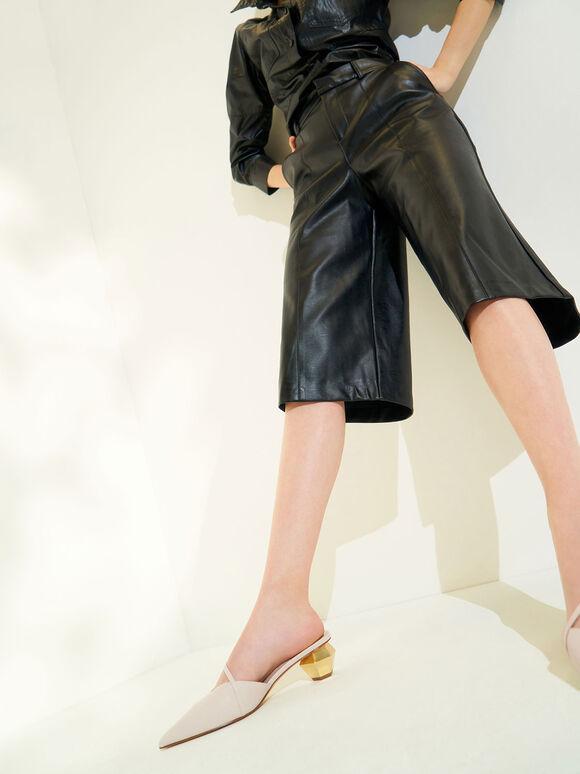 Sepatu Asymmetric Strap Chrome Heel Mules, Chalk, hi-res