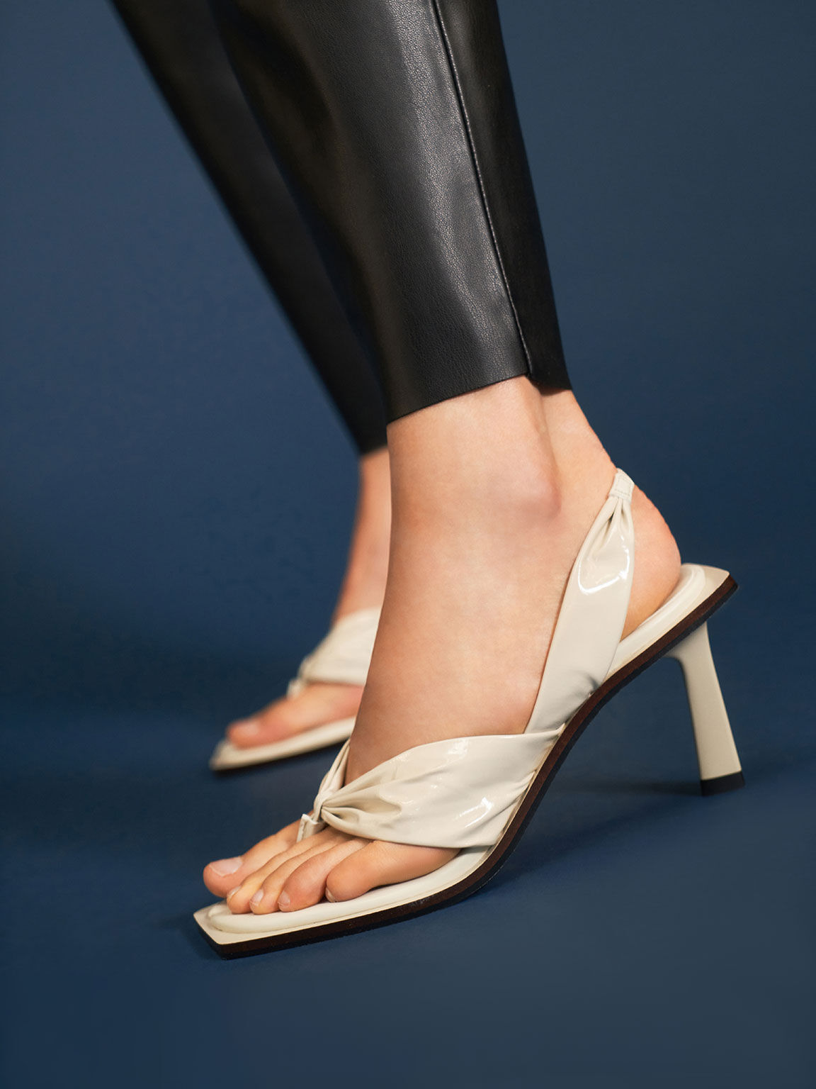 Limited Edition: Patent Slingback Thong Sandals, Cream, hi-res