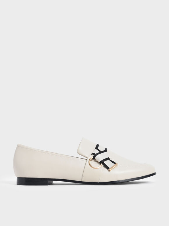 Sepatu Fabric Knot Penny Loafers, Chalk, hi-res