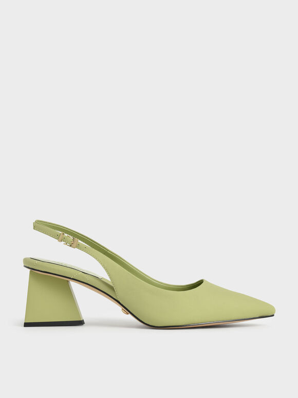 Leather Pointed Toe Slingback Pumps, Green, hi-res