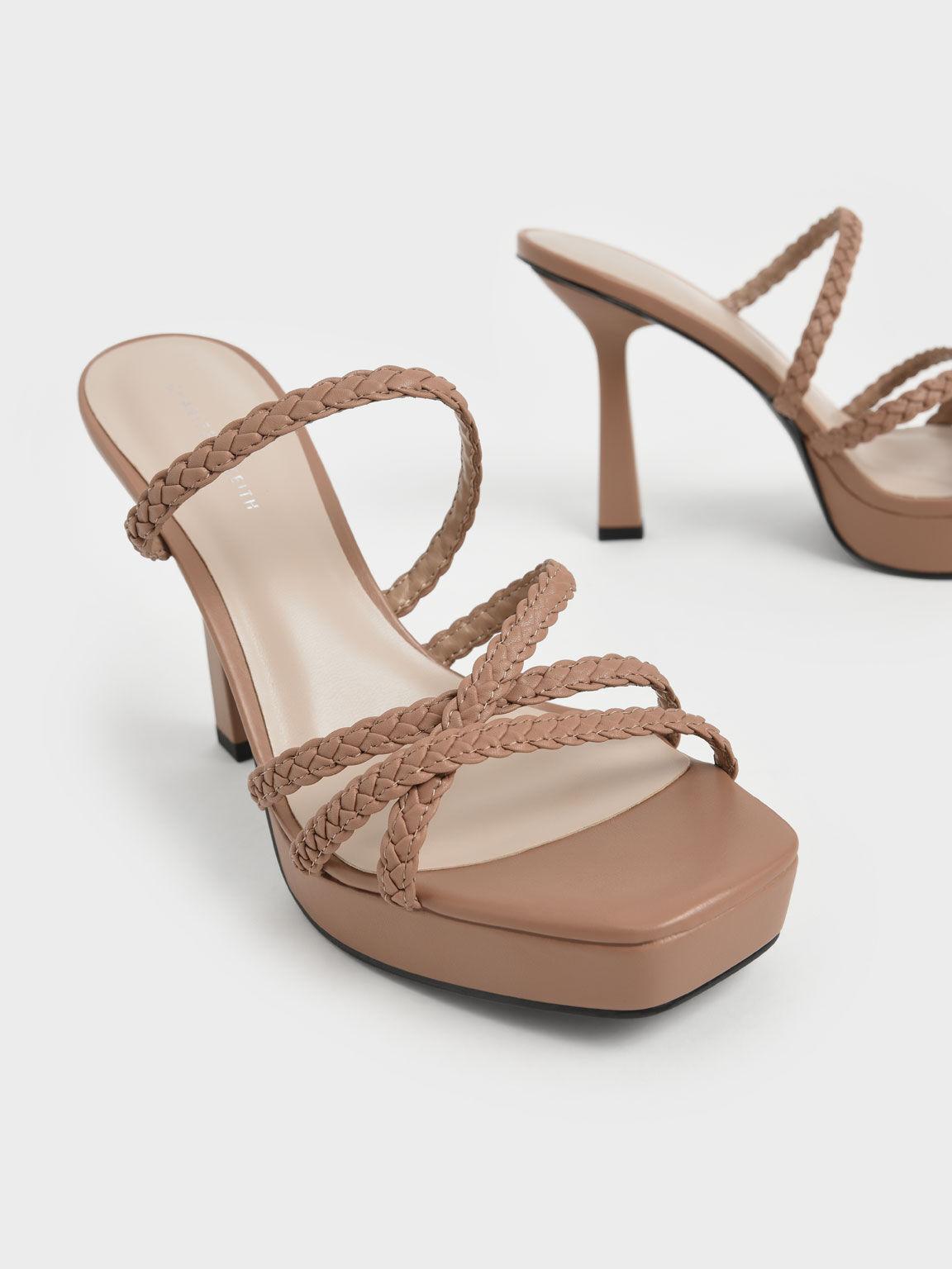 Sepatu Braided Strap Platform Mules, Camel, hi-res