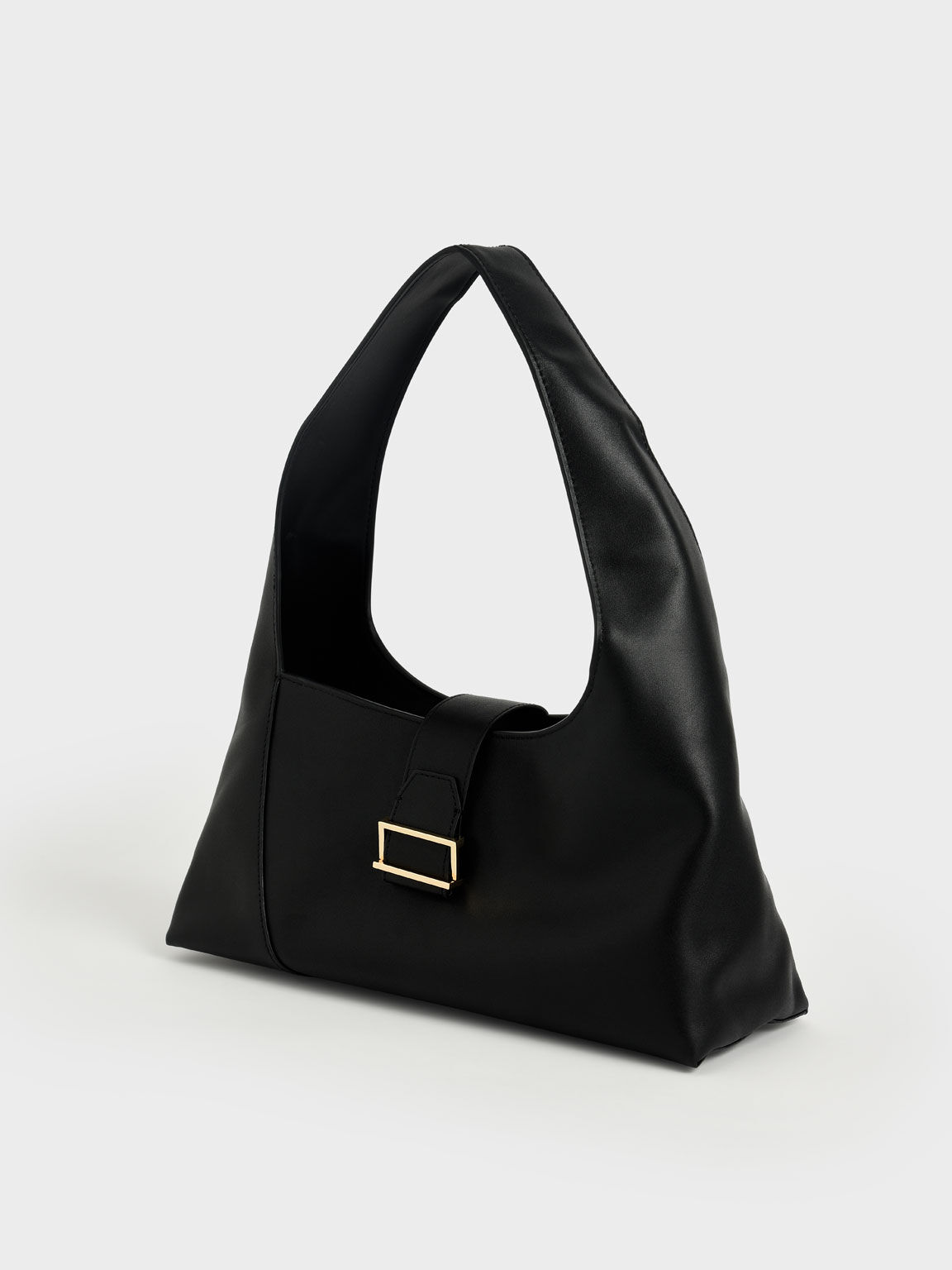 Tas Leather Hobo, Black, hi-res