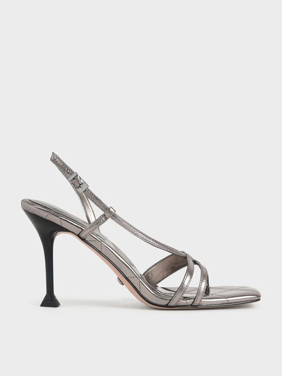 Sandal Wrinkled Leather Sculptural Heel, Silver, hi-res