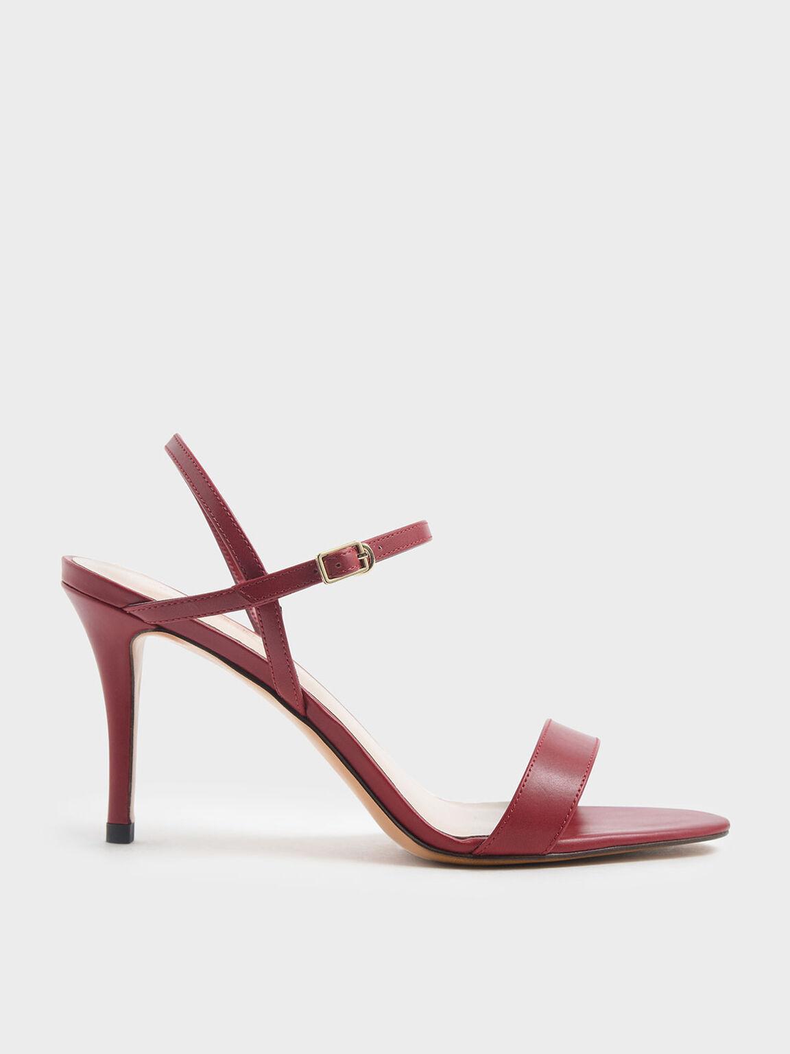 Classic Stiletto Heel Sandals, Red, hi-res