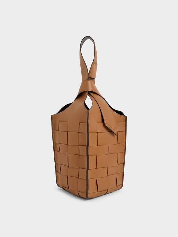 Tas Bucket Woven Single Handle, Camel, hi-res