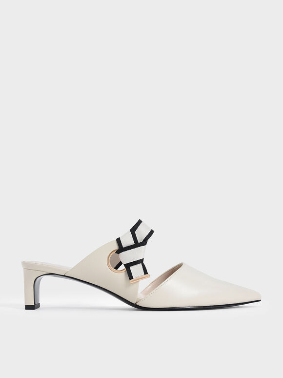 Sepatu Knotted Fabric Strap Pointed Mules, Chalk, hi-res