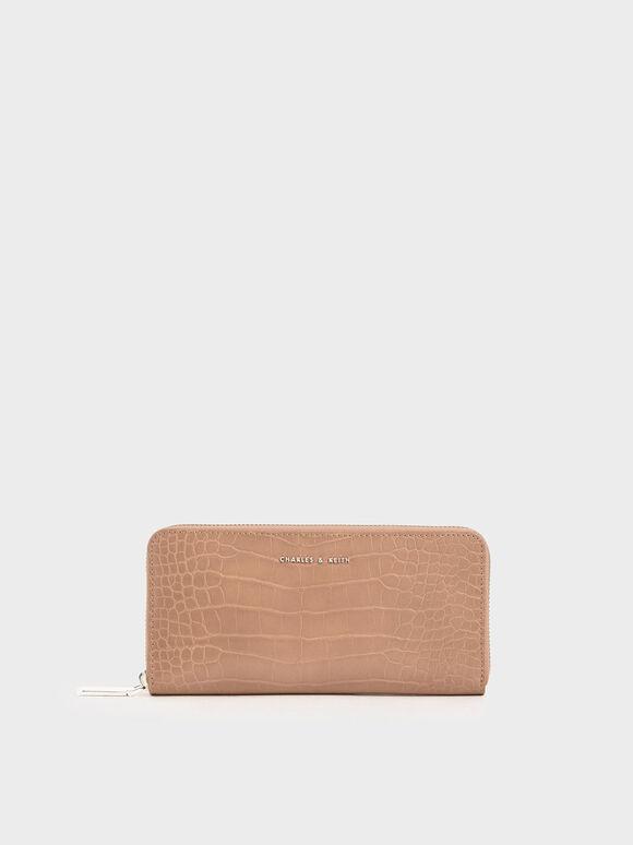 Dompet Panjang Mini Efek Croc, Blush, hi-res