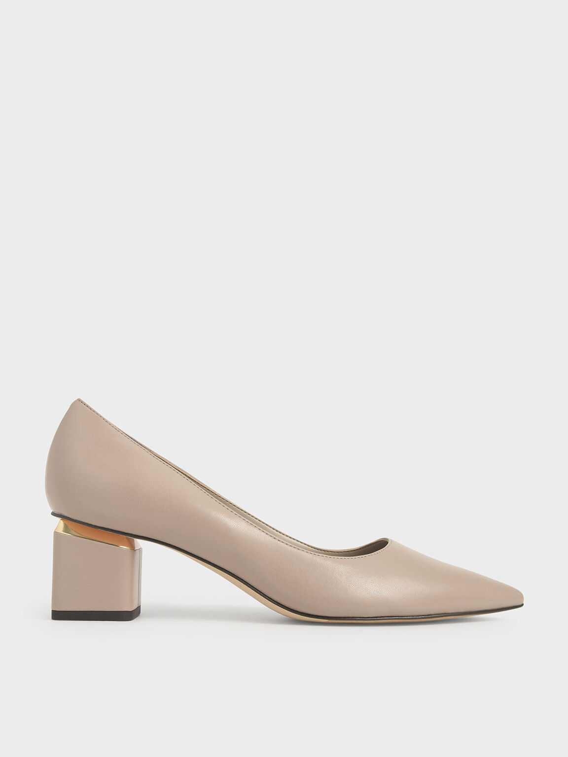 Sepatu Metal Accented Pointed Toe Pumps, Taupe, hi-res