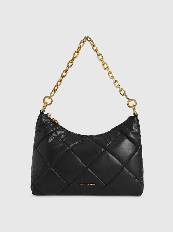Tas Puffy Quilted Chain Handle, Black, hi-res